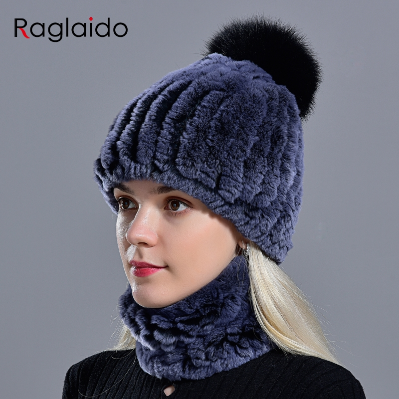 Rabbit Fur Pompom Hat Ring Scarf Set Women's Winter Fashionable Natural Fur Knitted Caps Neck Warmers For Girls Female