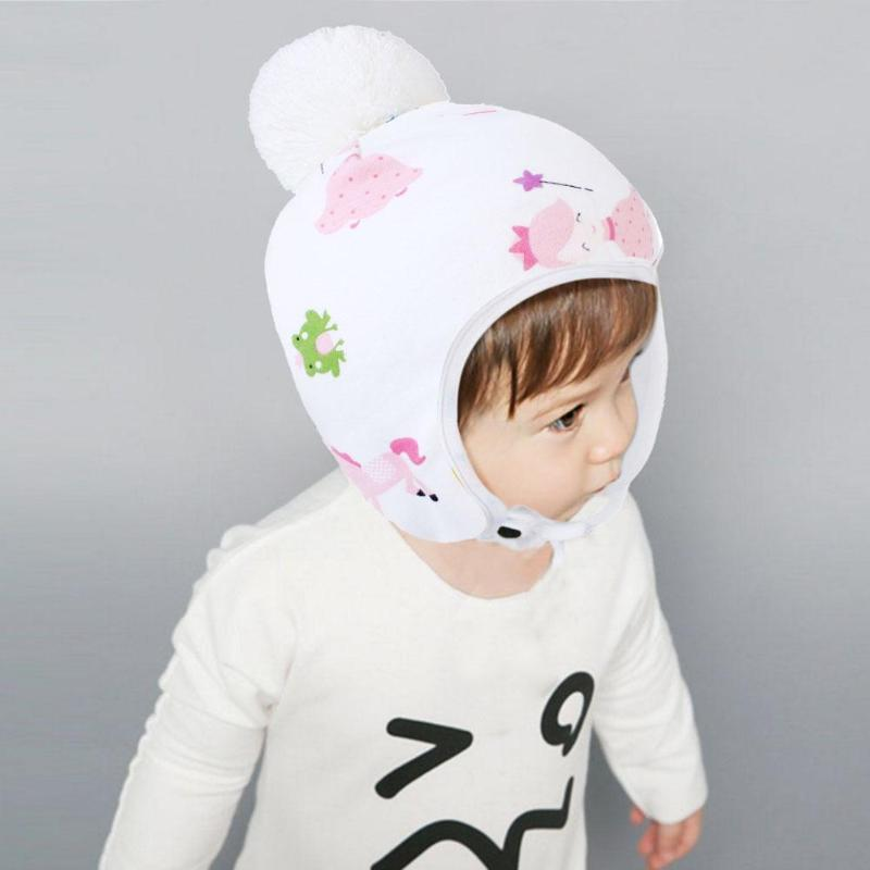 Newborn Baby Cap Winter Warm Fleece Hat Cotton Print Kids Adjustable Elasticity of Tie Pompom Ball Cute Head Wear Chritmas Gifts in Hats Caps from Mother Kids