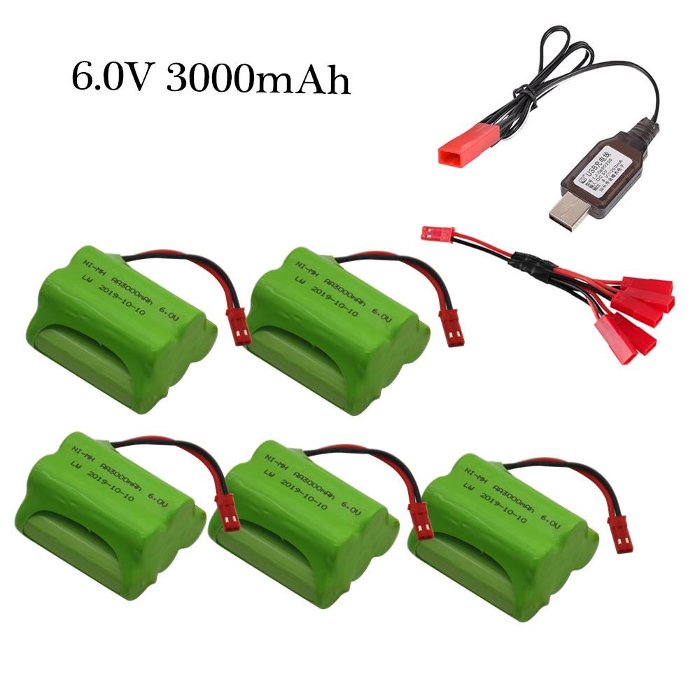 6v 3000mAh Battery Charger Sets For RC Cars Robots Tanks Gun Rc Boats With JST Plug AA 2400mah 6v NiMH Rechargeable Battery Pack
