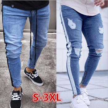 Mens Distressed Knee Holes Skinny Jeans  Ankle Zipper Slim Pencil Jean Mens Ripped Tore Up Streetwear Hiphop Side Stripe Denim knee holes frayed zipper fly narrow feet ripped jeans