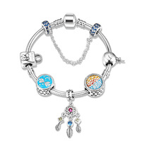 New arrival luxury 925 Sterling Silver Snake Chain with Dreamcatcher Pendant Ocean charm bead Fashion Bracelet Jewelry Gift 2019