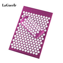 Massager (appro 62*38cm)Cushion Massage Mat Acupressure Relieve Back Body Pain Spike Mat Acupuncture Massage Yoga Mat+Pillow(China)