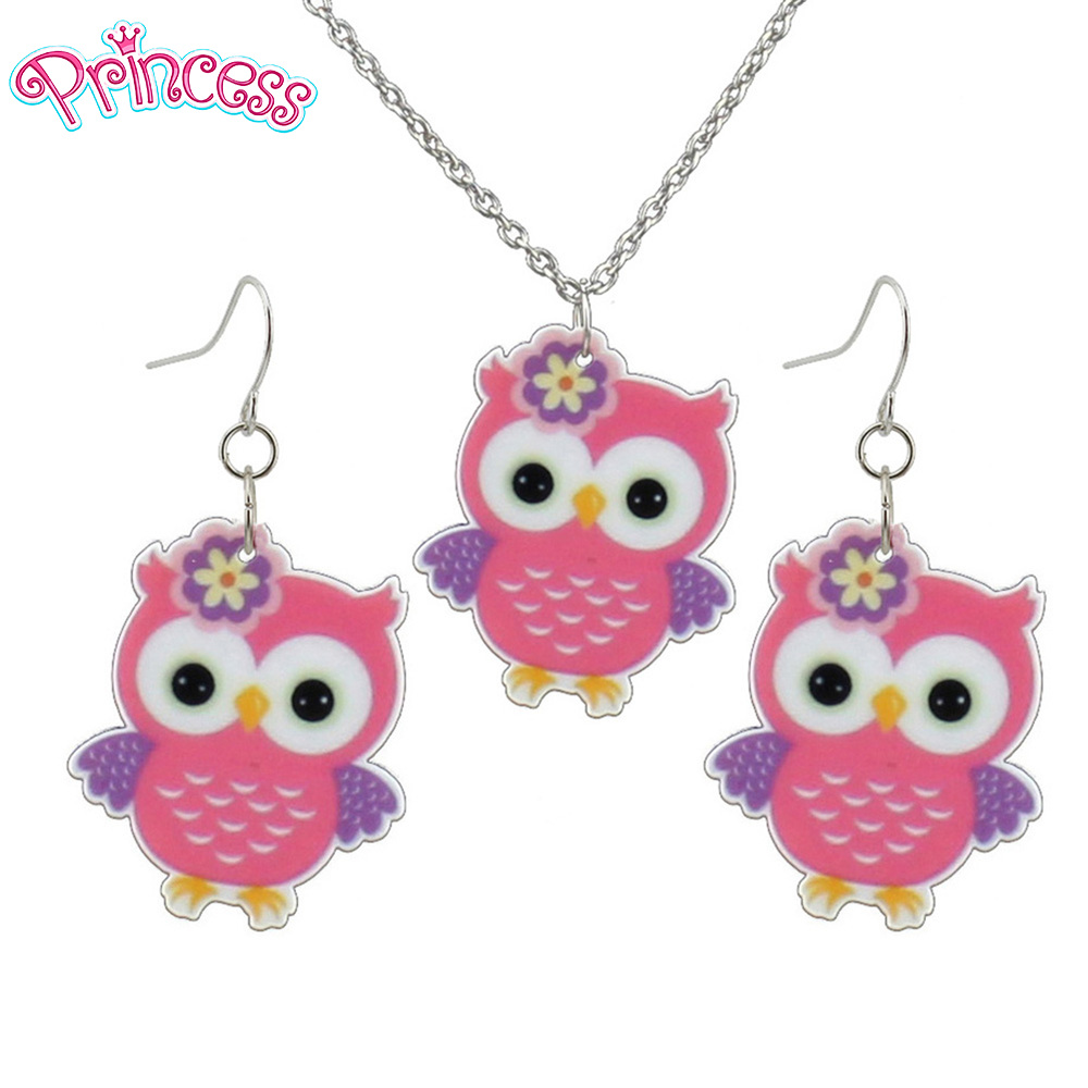 2019 Fashion Girls Kids Gift Jewelry Little Owl Earring Pendant Short Chain Necklace Free Shipping Xma Gift Wholesale KS195-A