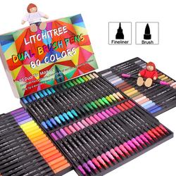 Markers Dual Tips Coloring Brush Fineliner Color Pens, 80 Colors of Water Based Marker for Calligraphy Drawing Sketching