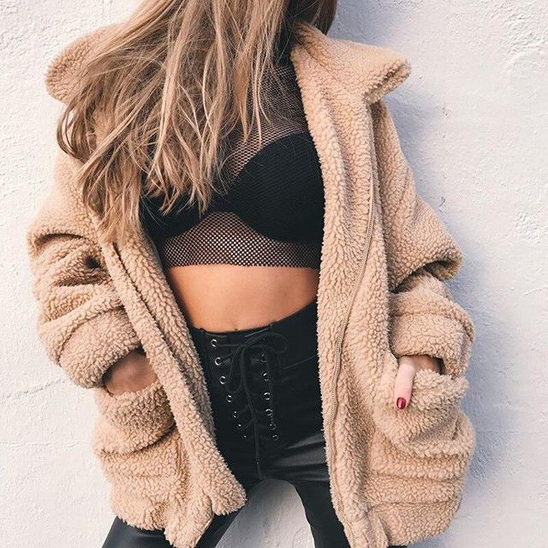 Elegant Faux Fur Coat Women 2019 Autumn Winter Warm Soft Zipper Fur Jacket Female Plush Overcoat Casual Outerwear Wholesale мужские кожанные куртки с косой молнией