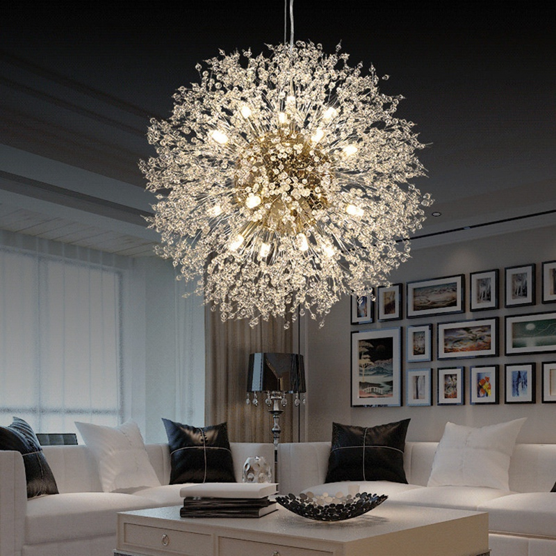 Современная светодиодная хрустальная люстра, светильник, кристальная подвесная Подвесная лампа, светодиодная люстра в форме одуванчика, украшение для ресторана, гостиной|Подвесные светильники|   | АлиЭкспресс