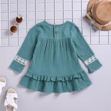 цена на New Baby Girl Clothes 1-5T Solid Color Lace Dress Toddler Girls Dress One-Piece Dresses Sleeveless Dress Princess Tutu Wave Hem