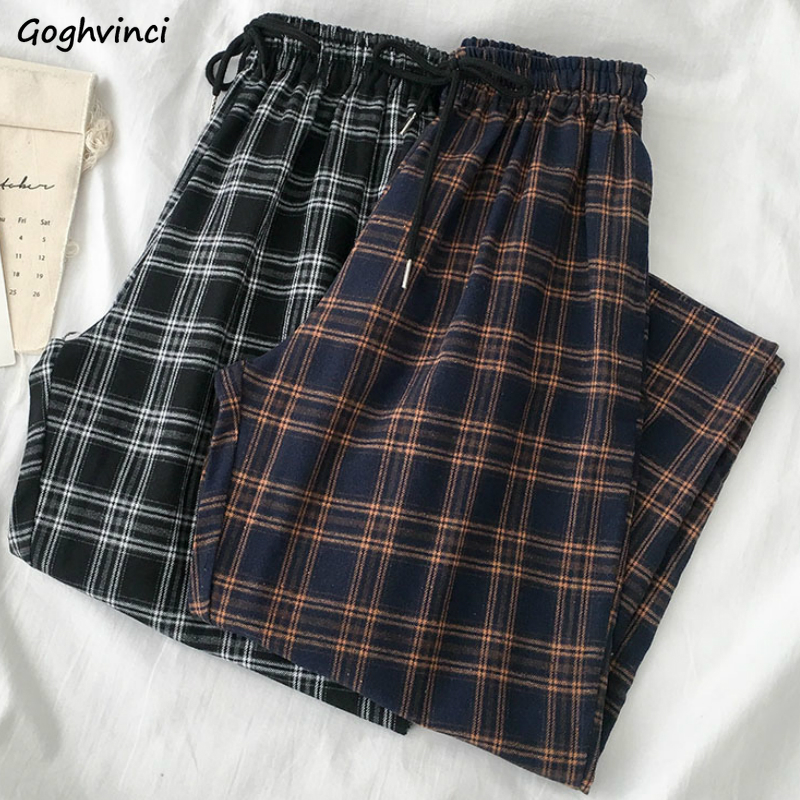 Casual Pants Women Elastic Waist Plaid Wide Leg Trousers Womens Students Simple Chic Trendy Office Lady All-match Harajuku New