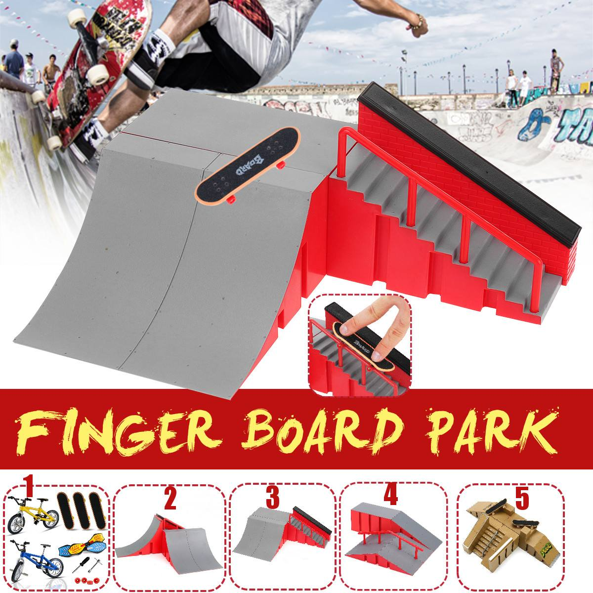 Mini Bike Fingerboard Ramps and Finger Boards for Kids ZHIHAN 16 Pieces Finger Skateboard Skatepark Set with Replacement Wheels and Tools Birthday Gifts Party Favors for Boys and Girls