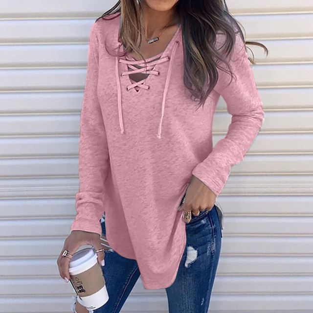 Women Solid Color Women Clothing T shirt V-Neck Long Sleeve Female T-Shirt Autumn Spring