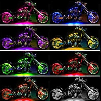 12x multicolor motocicleta Flexible RGB tira de luz de neón ATV LED lámpara remota para Harley