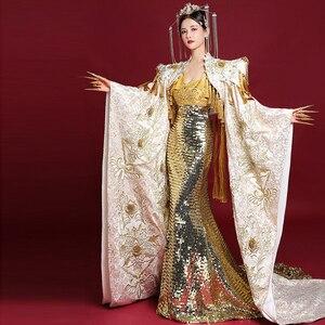 Китайское вечернее платье, длинное платье-Ципао, женское роскошное вечернее платье, модное традиционное свадебное платье с вышивкой и бахр...