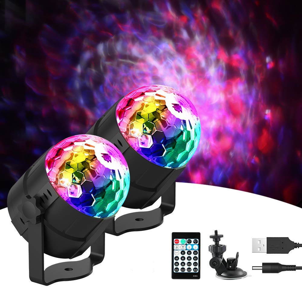 DCOO Sound Activated Party Lights With Remote Control DJ Lighting 15 RBG Disco Ball Stage Light For Birthday Xmas Wedding Show