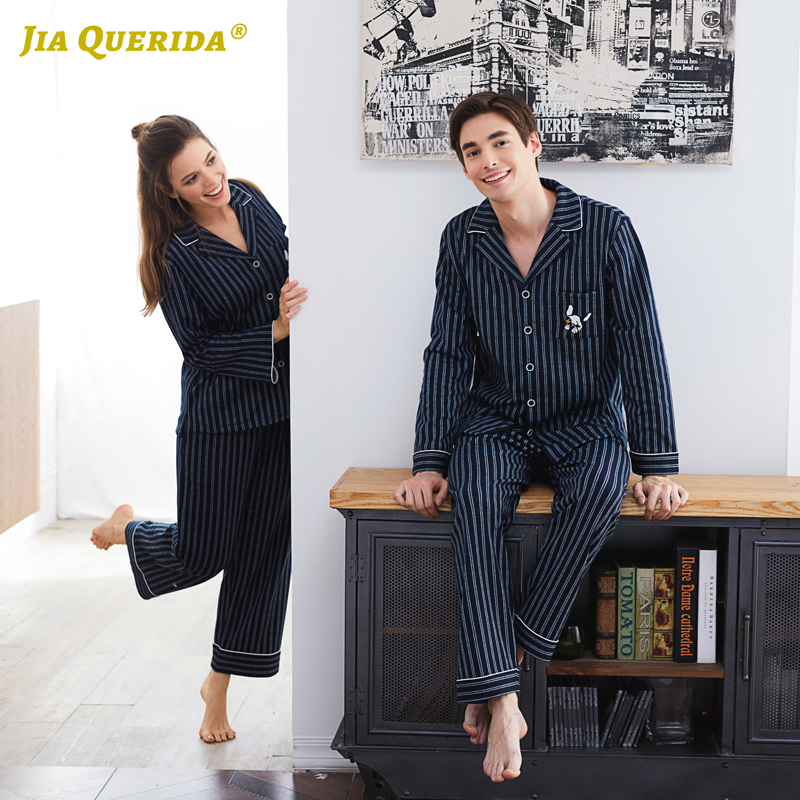 Couple Pajamas 2020 100% Cotton Cardigan Long-Sleeved Men And Women Pajamas Stripe Embroidered Lapel Couple Home Suit Sleep Wear
