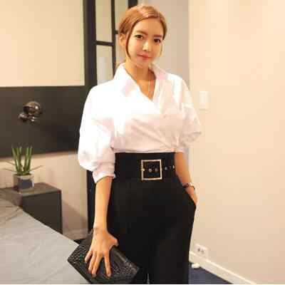 Etniczne 2020 społeczne kobiety jesień eleganckie bluzki rękaw w kształcie skrzydła nietoperza białe koszule Blusas biuro nieregularne koszule Camisas Mujer A370