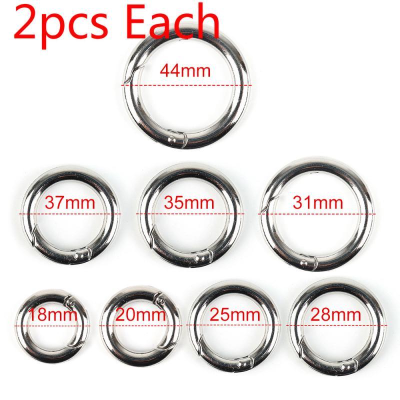 2 Pcs Plated Gate Spring Ring Key Round Push O-Ring Buckles Clips Carabiner Purses Handbags Round Push Trigger Snap Hooks Ring