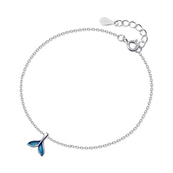S925 plata de ley azul cola de pez pulsera diseño simple joyería de las mujeres