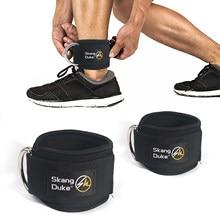 2pc fitness tornozelo cintas acolchoado duplo d-ring ajustável tornozelo guarda cinta hip raptores perna ginásio treinamento