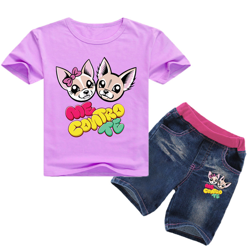 New Cotton Kids Clothes Summer Hot Style Fashion Me Contro Te Boys Short Sleeves + Jeans O-neck Pullover Kids Costume Unisex