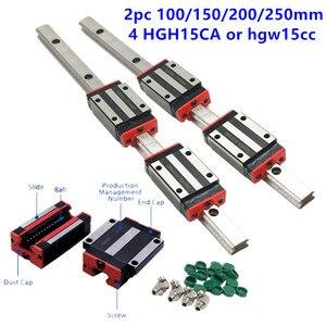 Nueva guía lineal HIWIN tamaño 100mm 150mm 200mm 250mm HG15 hgr15 hgh15ca hgw15cc para CNC máquina herramienta guías