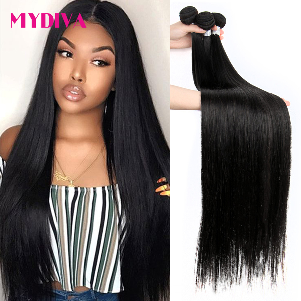 Mydiva 8-34 36 38 40 Inch   Bundles Straight 100%  3/4 Bundles Natural Color  Hair s 1