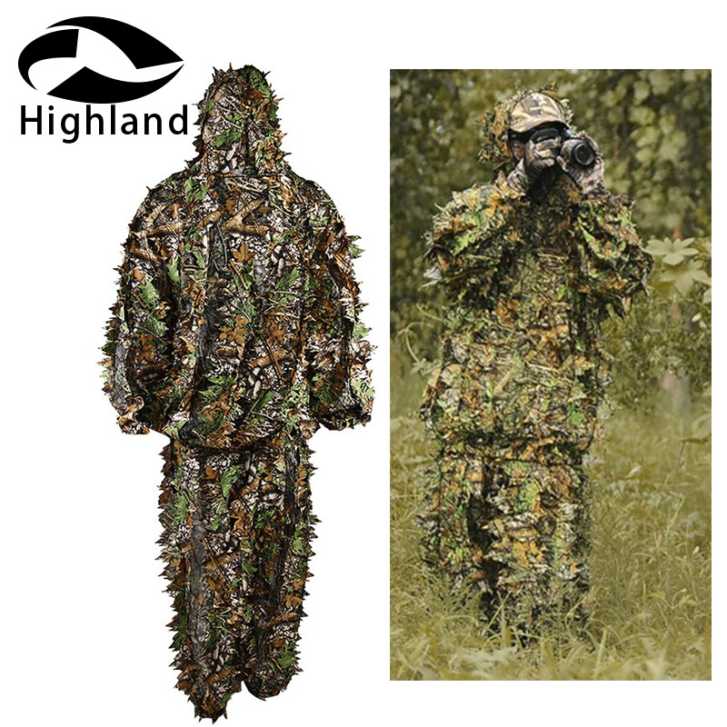 Hunting 3D Leaf Camouflage Camo <font><b>Jungle</b></font> Clothing Polyester Durable Outdoor Woodland Sniper Ghillie Suit Kit image