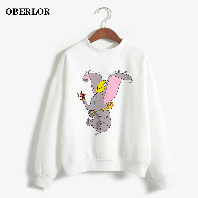 Harajuku Funny Mouse Dumbo Print O-Neck Pullover Kpop Kawaii Anime Women Hoodies Vogue Casual Pink Loose Gothic Sweatshirts