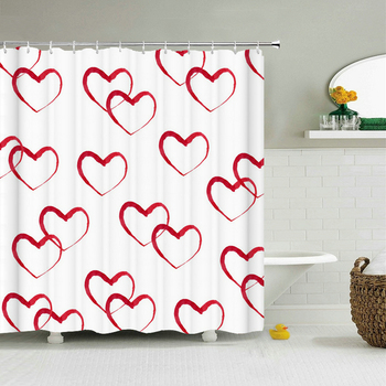 Modern Love Red Heart Shower Curtains Waterproof Bathroom Curtains 3d Print Large 240X180 Decoration With Hooks Shower Curtain image