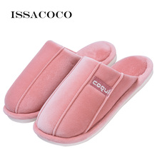 ISSACOCO Women Winter Slippers Fashion Shoes Woman Home Ladies Short Plush Indoor Womens House