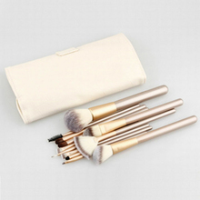 10 pcs champagne gold makeup brush tools eye shadow foundation blush and with bag