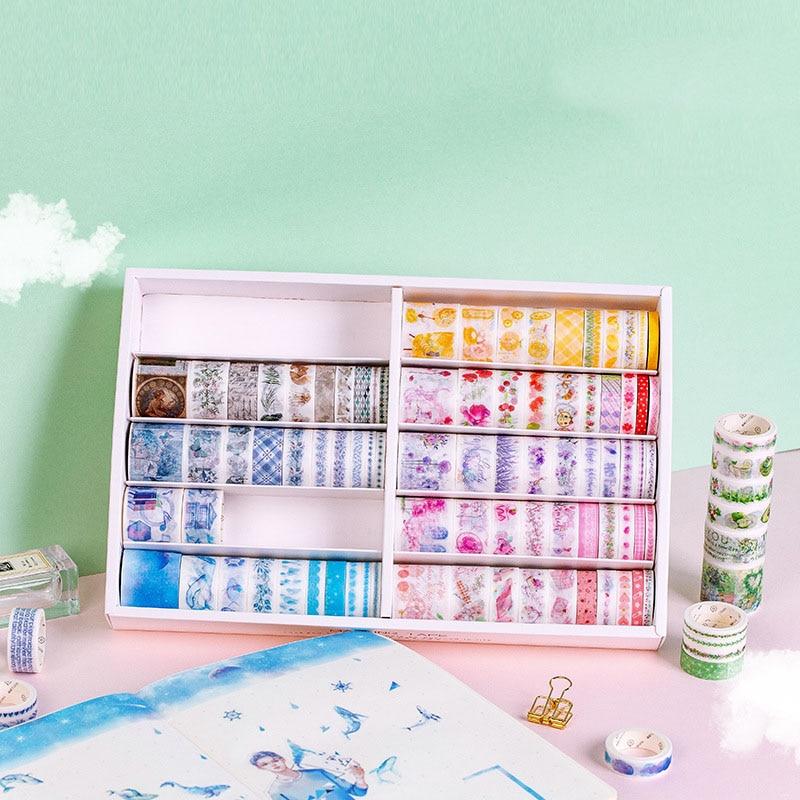 100Pcs/Set Journal Decorative Washi Tape Cute Flower Masking Paper Tape Adhesive Tape DIY Sticker Scrapbooking Diary Stationery