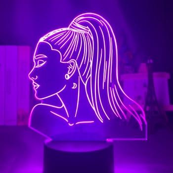 3d Night Light Singer Ariana Grande Gift for Fans Bedroom Decor Light Led Touch Usb Table Lamp Color Battery Powered Night Light table decor color change best gift led night light