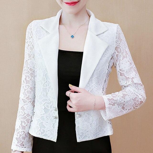 Jacket Women 2021 Long Sleeve V-neck Office Women Jacket 3XL 4XL  Jacket Black White Hollow Lace Jacket Coat Women D105 2
