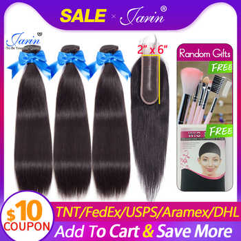 Brazilian Straight Hair 3 Bundles With 2x6 Closure 100% Remy Human Hair Bundle Deal With Middle Part Lace Closure 8-26Inches - Category 🛒 Hair Extensions & Wigs