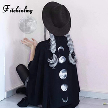 Fitshinling Moon Gothic Blouse Shirt Women Batwing Sleeve Bi