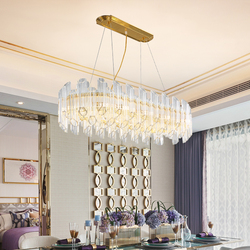 FSS nowoczesny prostokąt jasny kryształ złoty żyrandol oświetlenie lampy wiszące Led światło jadalnia oświetlenie wewnętrzne oprawa kolumna świetlna