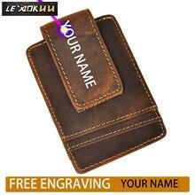 Purse Money-Clip Wallet Card-Case Front-Pocket Magnetic Male Travel Mini for Men 1058