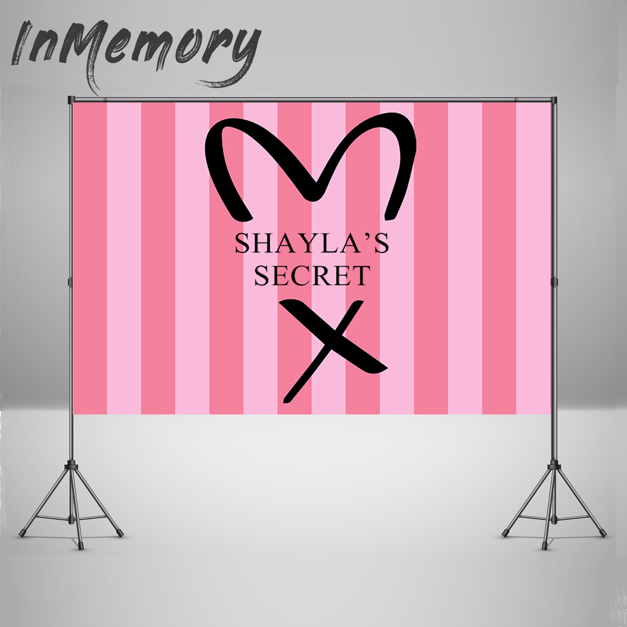 Photophone Backgrounds Pink  Stripes Victoria Secret Baby Girl Birthday Party Backdrop For Photography Photocall Banner 220x150c