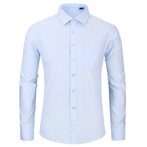 Image 2 - High Quality Non iron Mens Long Sleeved Dress Shirt White Blue Business Casual Male Social Regular Fit Plus Size