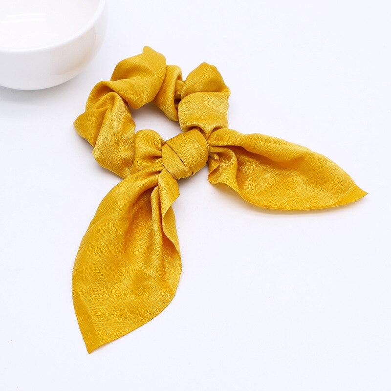 Новинка, шифоновые шелковые резинки для волос с бантом, женские жемчужные резинки для волос, резинки для волос, аксессуары для волос - Цвет: D Yellow