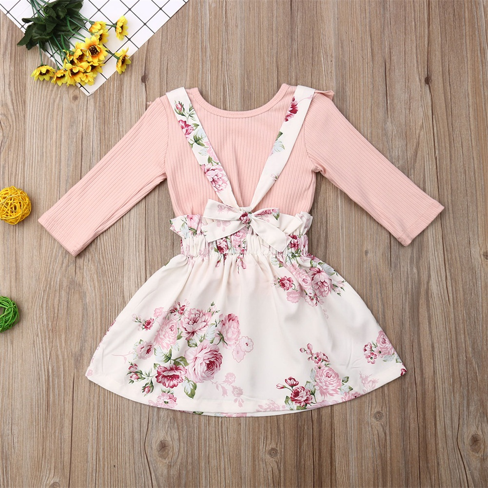Fashionnel Baby Girls Autumn Outfits Clothes Shirt Tops+Skirt Strap Dress 2PCS Set