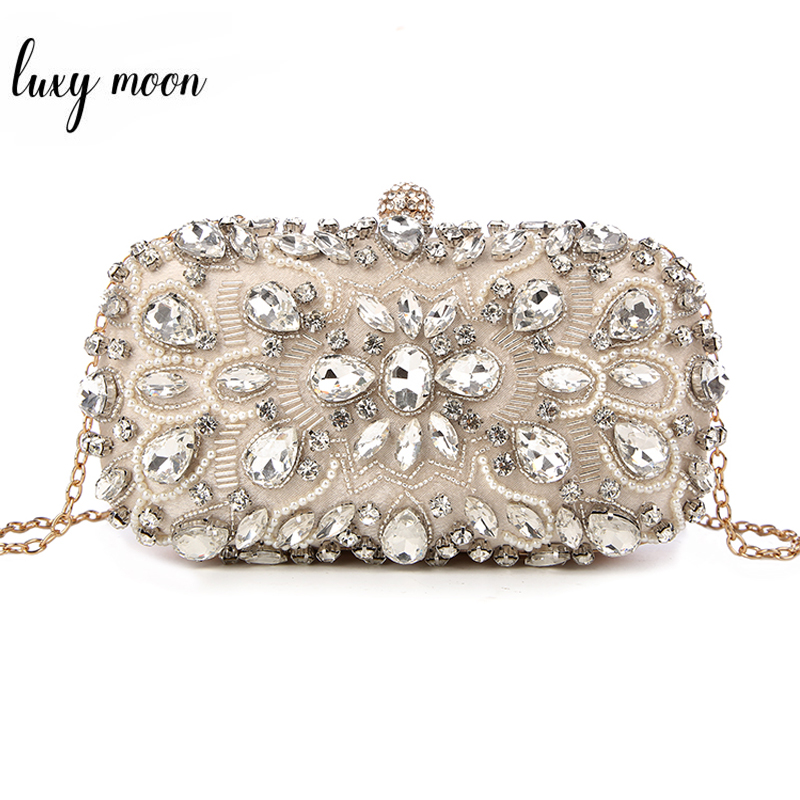 Crystal Evening Bags For Womens Clutches Purse Chain Wallet Handbags Elegant Party Blue