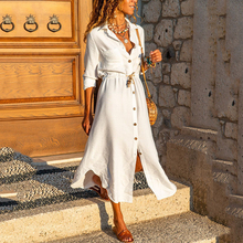 Maxi Button Shirt Turn-down Collar Long Sleeve A-line Strappy Solid Dress 2021 Autumn Women Elegant Casual Party Dresses Robes