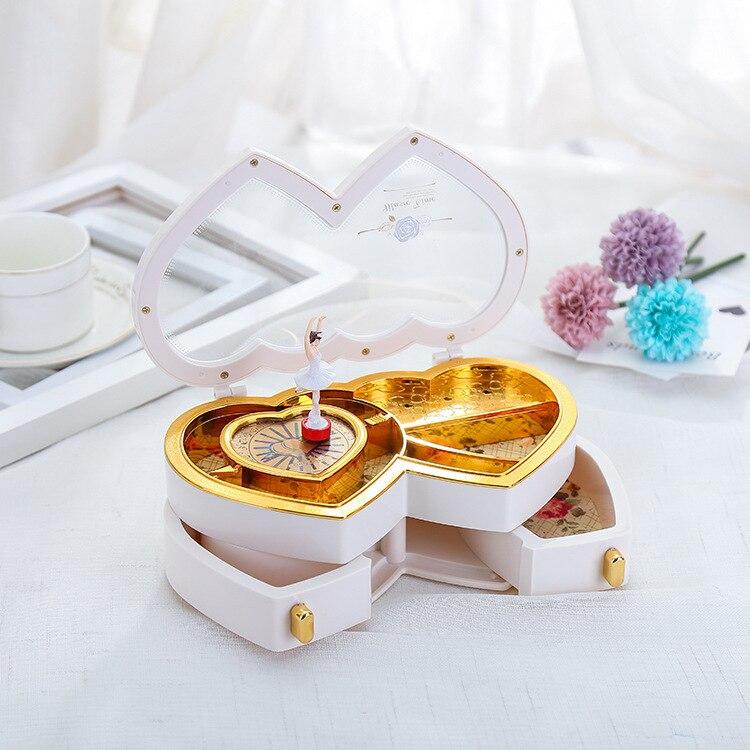 Free shipping Double heart dance music music box jewelry box music box girls present
