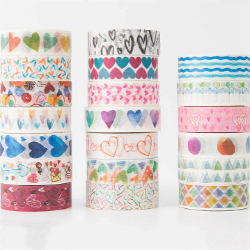 Hot Sale Delicate Washi Tape Paper 15mm*5m Colorful Lovely Cute Kawaii Stationery Scrapbooking Label Supplies Stickers