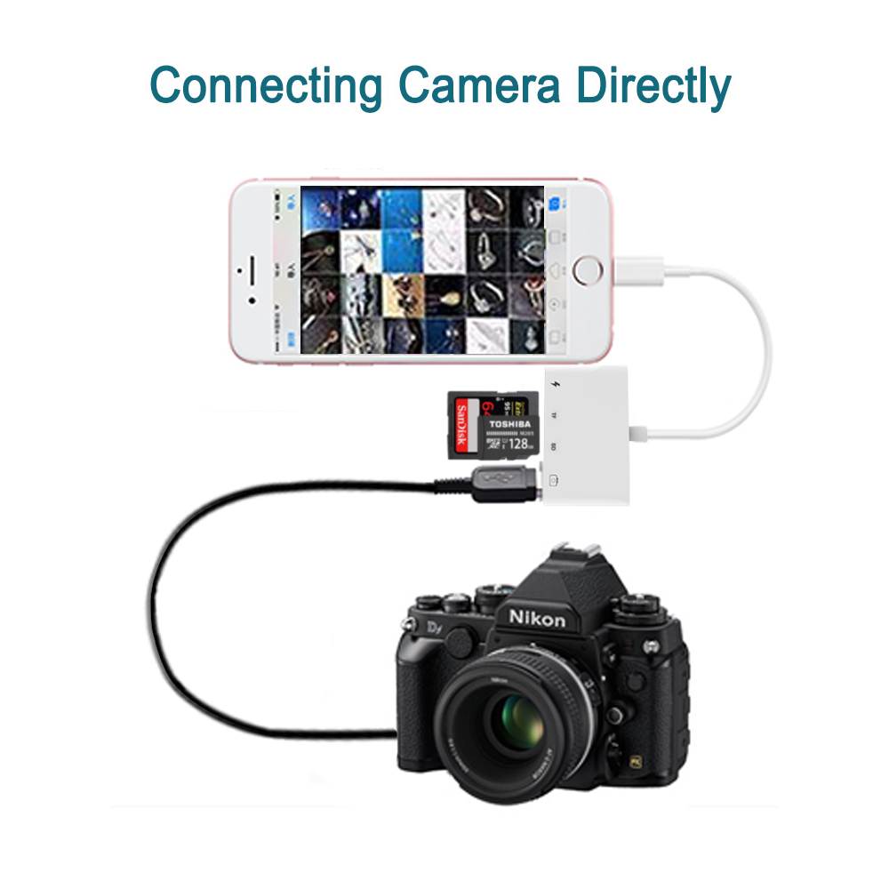 Image 4 - 4 in 1 SD TF Card Camera Connection Kits for Lightning to USB Camera Reader adapter OTG Cable for iphone x 8 8plus for ipad Air