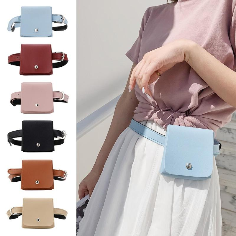 New Teenage Girls Solid Color Small Fashion Waist Bags Women Mini Leather Casual Simple Crossbody Fanny Chest Bags