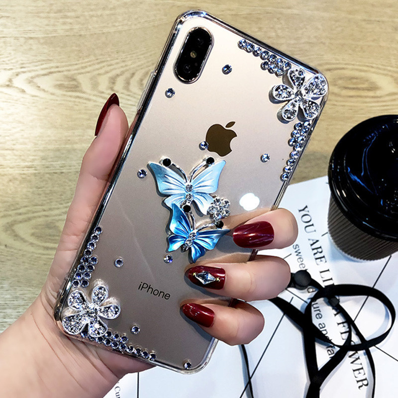 Luxury Diamond Butterfly Flower <font><b>Case</b></font> For <font><b>OPPO</b></font> A9 <font><b>A5</b></font> <font><b>2020</b></font> A11 A11X F9 F11 Pro A9 A9X A71 A79 A51 A53 A57 A59 NEO9 R7S R7 R9S Plus image