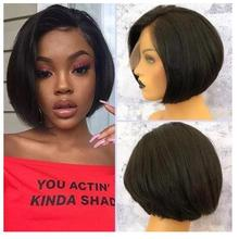 Wigs Preplucked Human-Hair Lace-Front Magic Short Bob Pixie-Cut Love with for Women 200-%