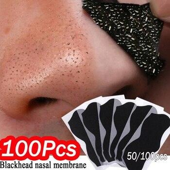100pcs Nose Blackhead Remover Mask Deep Cleansing Skin Care Shrink Pore Acne Treatment Mask Nose Black dots Pore Clean Strips